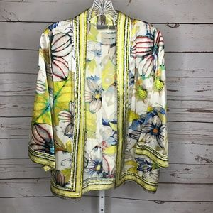 Chicos Womens Open Front Silk Cardigan Size M